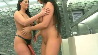 Stunning Babes Lisa Sparkle And Simony Diamond Frolic With A Strap-On Dildo