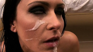 Sexy brunette wakes up from her wet dream and has a creamy facial