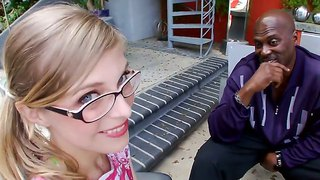 Spectacled Blonde Penny Pax Is Playing With Dick