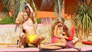Elisse, Nadin And Stephanie Sharing Some Tight Cock By The Pool!