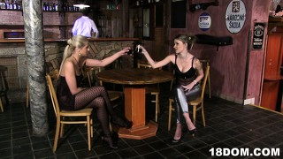 Two sexy bitches hook up with the horny bartender in the restroom