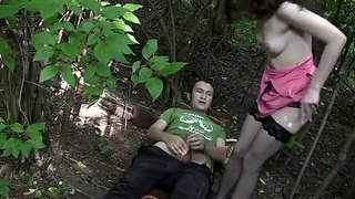 Masha is having sex in the forrest