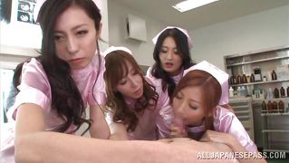 Slutty Japanese Nurses Playing With A Cock.