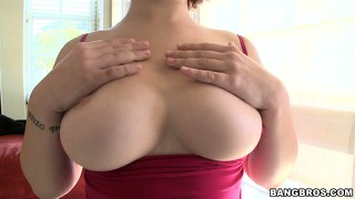 Busty babe ava bailey plays with her tits and munches on cock