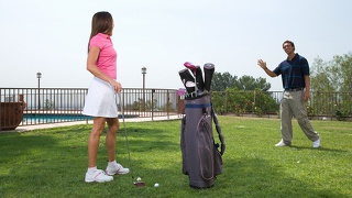 Michelle lay wants to get a golf club in her hole