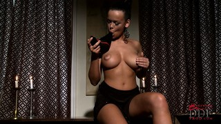 Hot brunette gets home from the club and uses her spiked heel to masturbate