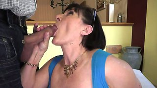 Old Horny Woman Margo Loves Sucking A Young Large Throbbing Cock Before Getting Banged Hard