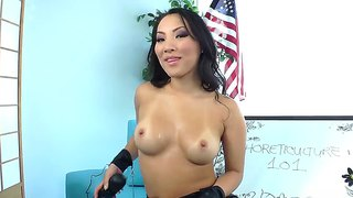 Asa Akira Is Masturbating Her Wet Tight Vagina With A Didlo