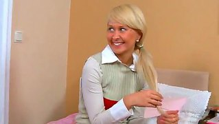 Innocent-Lookng Schoolgirl Blonde Amiee Called Her Bad-Boy Classmate To Make Homework Together