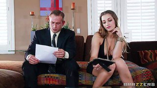 Sweet brown haired lady dani daniels in black dress and pink thong panties seduces her ex husband's brother and enjoys his cock in her mouth. this charming blue-eyed babe is good at cock sucking.