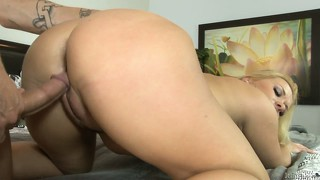 Whore milf is getting slammed from behind and then sucking cock until it splashes cum on her face
