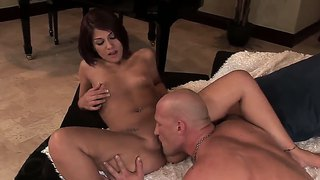 Super sexy redhead woman dahlia denyle sucks and gets fucked in the pussy