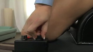 Busty Blonde Eve Lawrence Rides The Sybian At Work