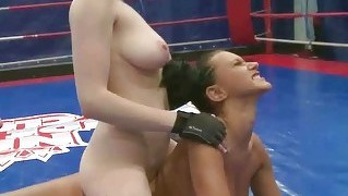 Wild Young Brunettes Wrestling