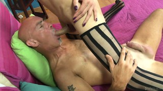 Slutty shemale prostitute takes his manhood up her tight lady boy ass