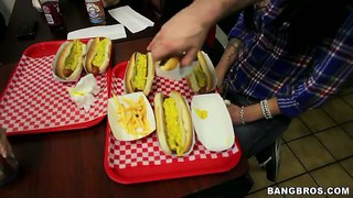 Brandy Aniston Enters A Hot Dog Eating Contest