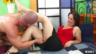 Gilf Satisfied By A Muscled Bald Man
