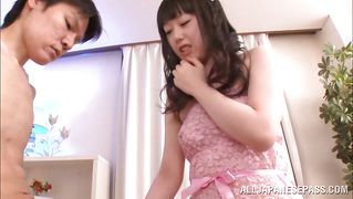 Japanese Babe In Pink Dress Jerks And Sucks Cock