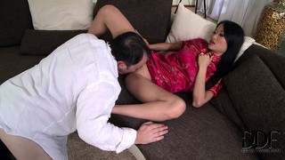Slutty chinese whore is sprayed with hot sticky semen in hotel room