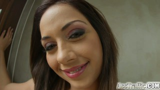 Brunette bombshell nomi melone takes it up her round ass and swallows a huge load of jizz