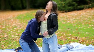 Sexy Blonde Lesbian Cutie Ivana Enjoys Making Out With Her Girl Friend Outdoors.