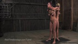 Two girls tied strenuously, single tailed