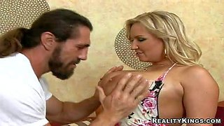 Arousing seductive and lusty blonde milg rachel love with enormous juicy gaozngas in summer dress teases long haired stud with hot muscled body and gets down to suck his long sausage