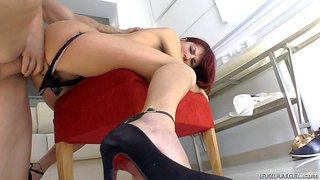 Chiqui is a passionate redhead with long legs and round ass. hot babe in black shoes pulls down her panties and gets her vagina attacked by nacho vidal's fat cock from behind. watch sexy assed slut get nailed.