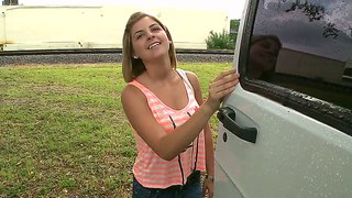 Molly Xxx Is Talking Dirty In The Van Before Blowjob