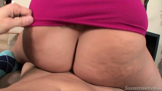 Petite blonde makes a fat cock all slick with her pussy and spit