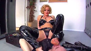 Dangerous Blonde Mistress Krissy Lynn Dominates Deviant Kade In The Public Toilet