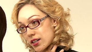 Autum Moon And Lily Labeau Relax In An Office