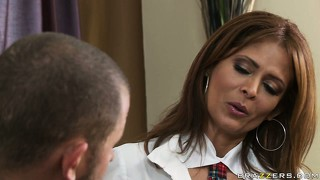 Milf monique fuentes seduced by a younger guy to suck his tasty meat pole
