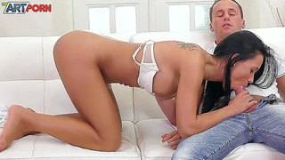 Petite black haired girl victoria sweet exposes her small ass she gets her tight trimmed pussy drilled by her fuck buddy. watch hot blooded young lovers enjoy hardcore sex on the couch for you to watch.