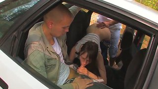 Amazing Beata Wild Car Adventure With Two Guys Fucking Hard